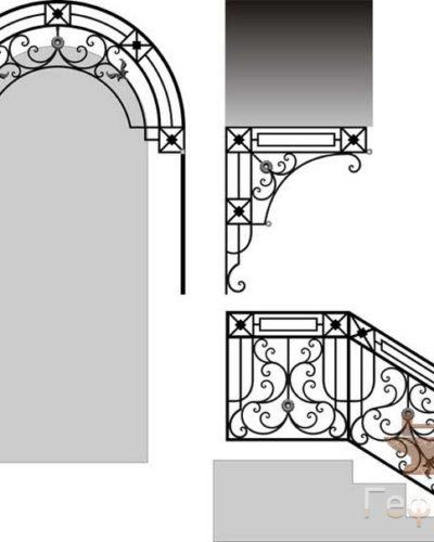 Эскиз, кованый козырек