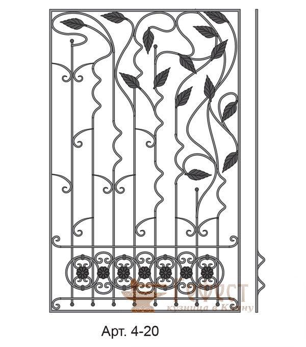 Эскиз кованой оконной решетки